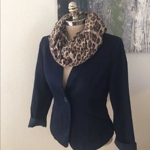 AMBITION Navy Blue Ruffled Back Blazer
